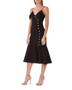 8efc147e854a ML Monique Lhuillier Off-Shoulder Crepe Midi Dress w  Button Details