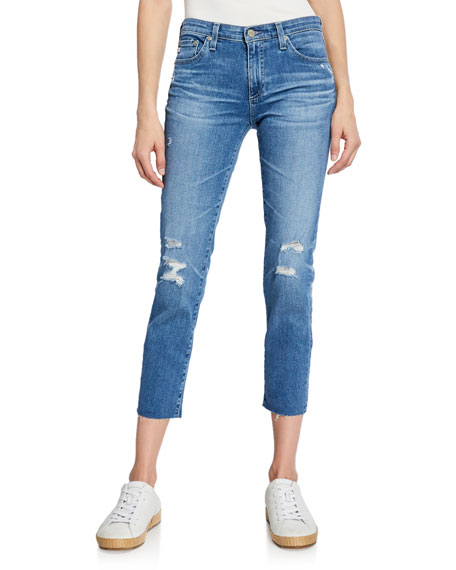 Ag Jeans PRIMA MID-RISE CROPPED SKINNY JEANS - 16 YRS DESTRUCTED