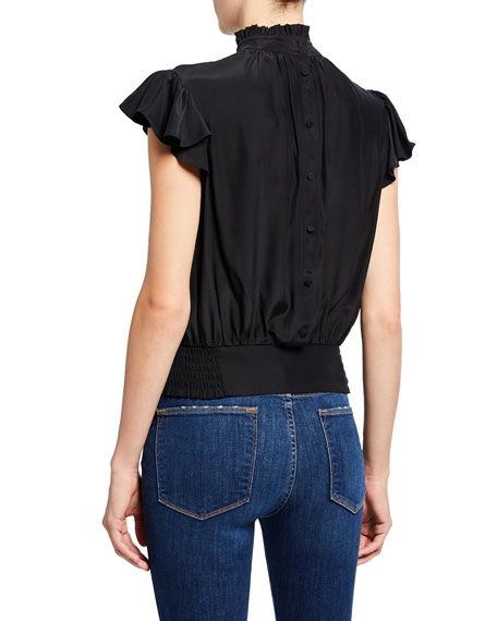 Image 2 of 2: FRAME Mock-Neck Cap-Sleeve Smocked Ruffle Top