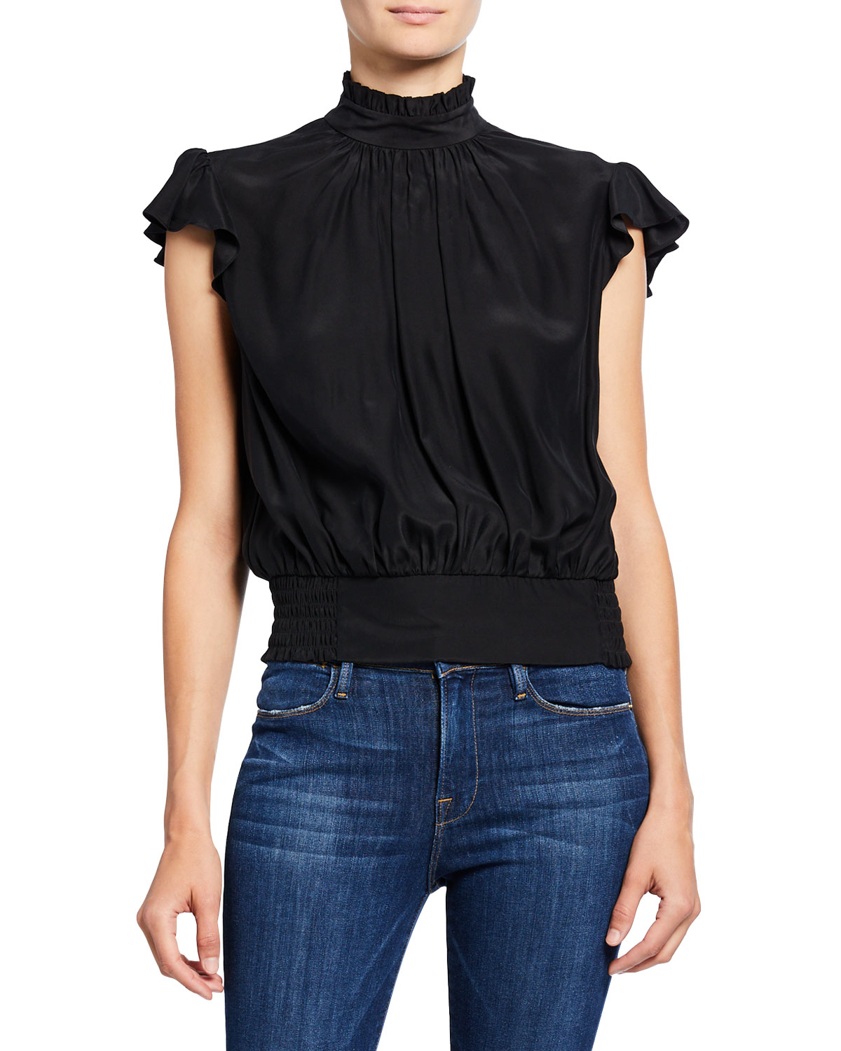 FRAME Mock-Neck Cap-Sleeve Smocked Ruffle Top