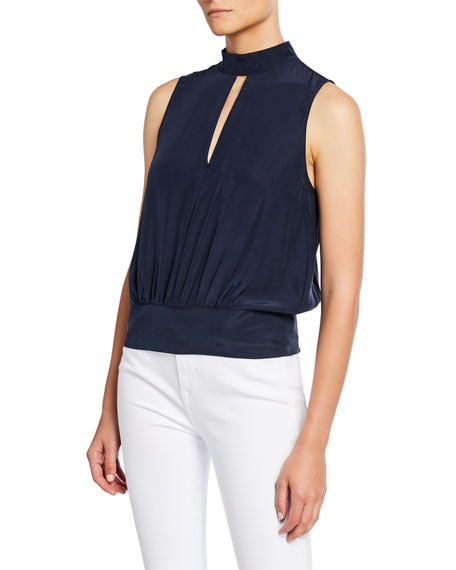 Image 1 of 2: FRAME Sleeveless High-Neck Party Top