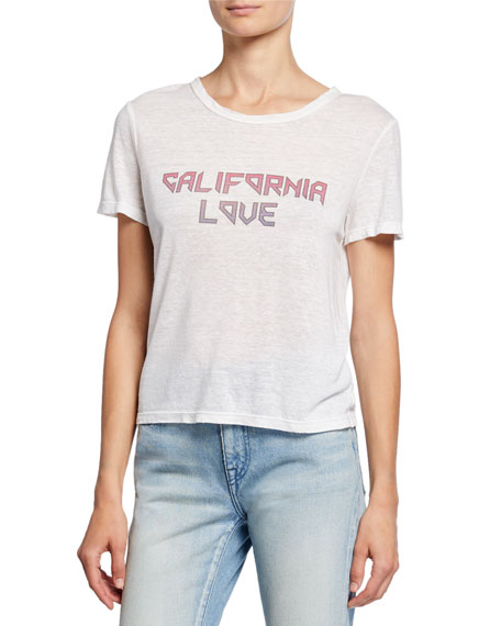 A.L.C. California Love Short-Sleeve Linen Slogan Tee