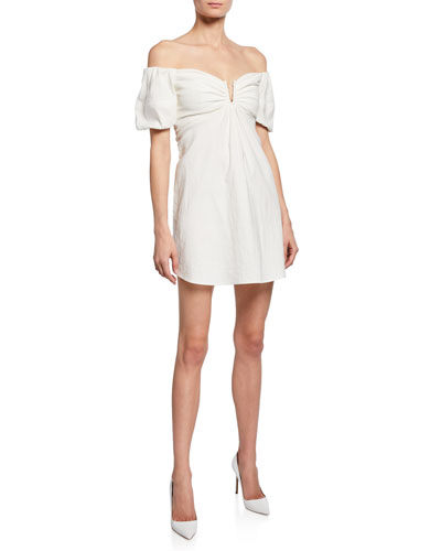 Aniston Off-the-shoulder Short-Sleeve Mini Dress