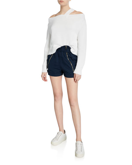 RtA Louie Zip-Front Paperbag Shorts