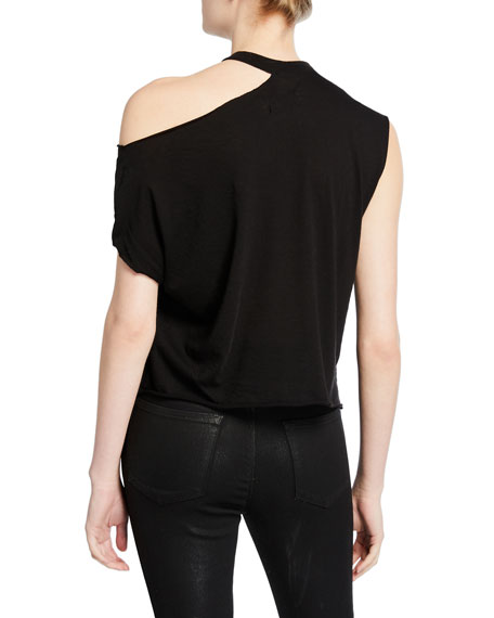 RtA Axel Cold-Shoulder Cotton-Cashmere Top