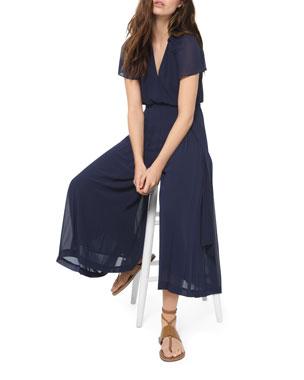 MICHAEL Michael Kors Cropped Short-Sleeve Georgette Wrap Jumpsuit