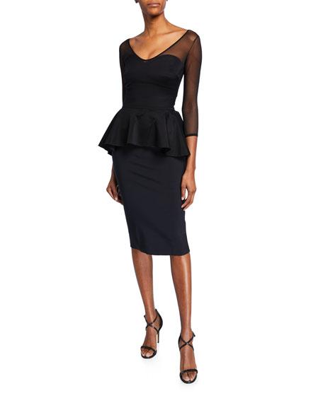 Chiara Boni La Petite Robe Dresses ARQUETTE ILLUSION 3/4-SLEEVE PEPLUM COCKTAIL DRESS