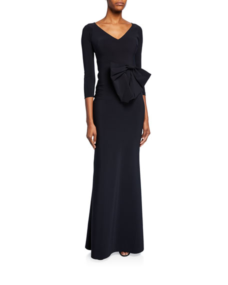 Chiara Boni La Petite Robe Tops BARBRA LEE V-NECK 3/4-SLEEVE GOWN WITH SIDE BOW DETAIL