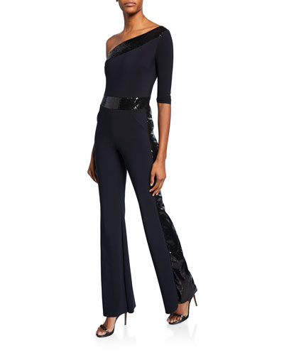 Unimarge One-Shoulder Flared-Leg Jumpsuit