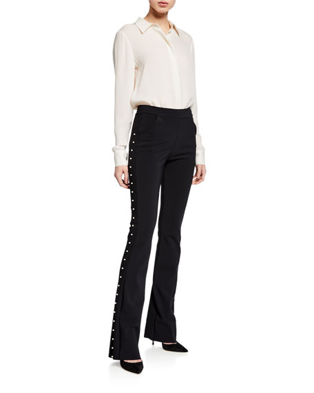 Chiara Boni La Petite Robe Tulay Straight-Leg Pants with Pearly Trim