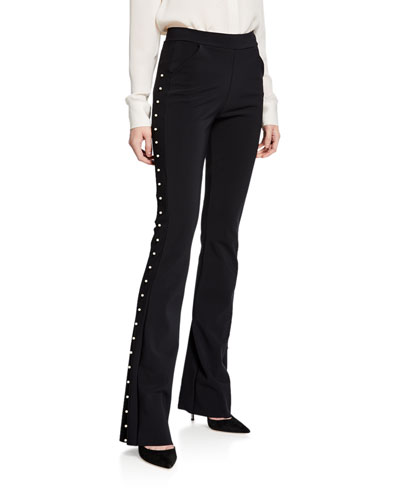 Tulay Straight-Leg Pants with Pearly Trim