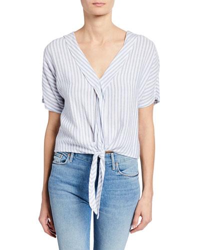 June Striped Tie-Front Top