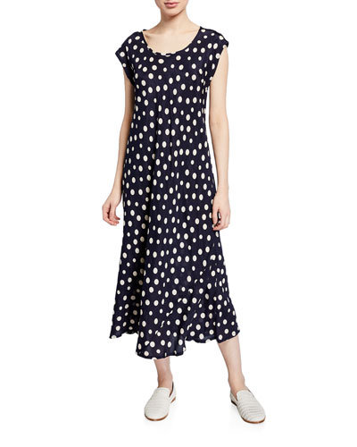 Unni Polka-Dot Scoop-Neck Cap-Sleeve Dress