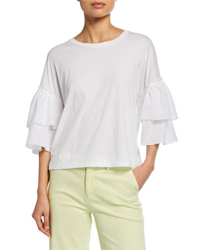 Mix Media Crewneck Tiered Ruffle-Sleeve Cotton Top