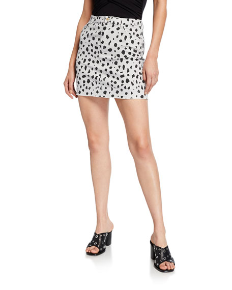 Atm Anthony Thomas Melillo Cheetah-Print Mini Skirt In Pale Silver Combo