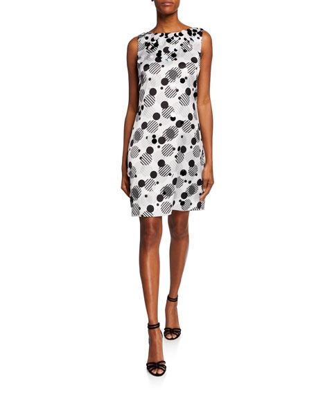 Theia Dresses DOT-PRINT SLEEVELESS CHARMEUSE SHIFT DRESS W/ PAILLETTE TRIM