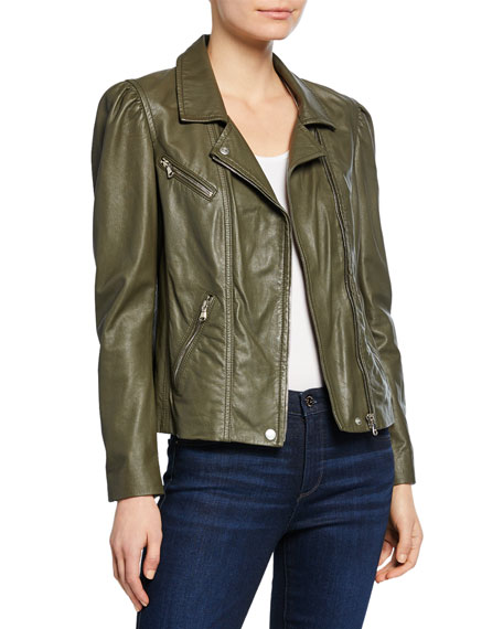 Rebecca Taylor Jackets LEATHER BIKER JACKET WITH PUFF SLEEVES
