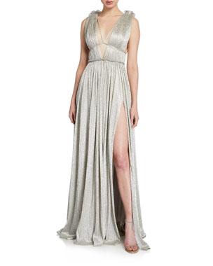 c6082b1fe2 Jonathan Simkhai Plisse Metallic Plunging Maxi Dress