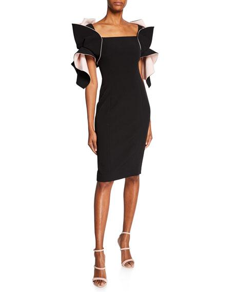 Badgley Mischka Dresses TWO-TONE ORGANZA RUFFLE-SLEEVE SHEATH DRESS