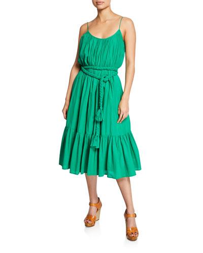 Lea Sleeveless Belted Cotton Dress