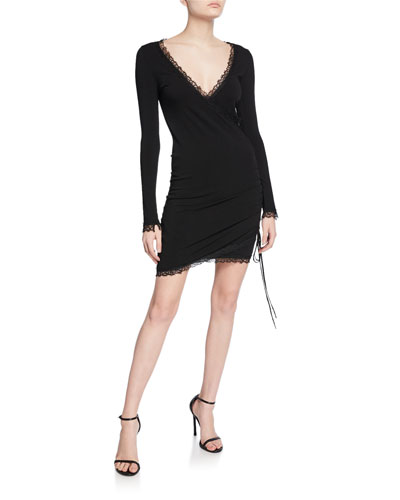 Long-Sleeve Ruched Mini Dress with Lace-Trim