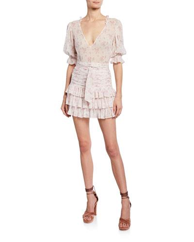 Hannah Gathered Short-Sleeve Mini Dress