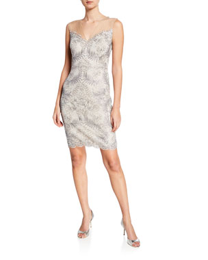 4c0635d36db Tadashi Shoji Sleeveless Embellished Corded Lace Cocktail Dress