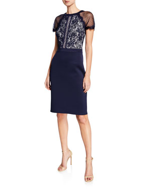 2e2176d40fd Tadashi Shoji Short-Sleeve Lace   Neoprene Cocktail Dress