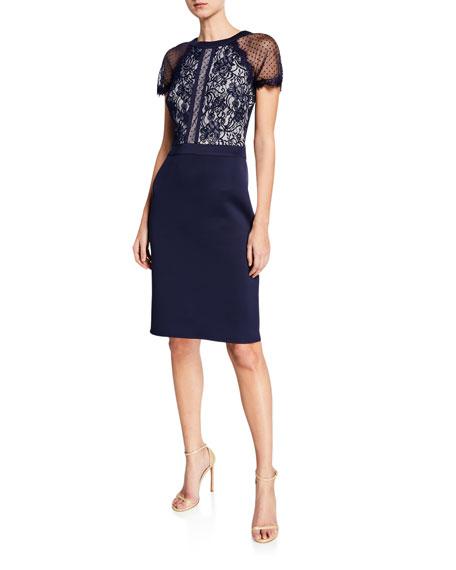 Tadashi Shoji Dresses SHORT-SLEEVE LACE & NEOPRENE COCKTAIL DRESS