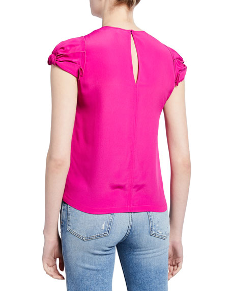 No. 21 Puff-Sleeve Crepe Blouse