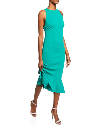 Plus Size Sleeveless Bodycon Dress with Shirred Side