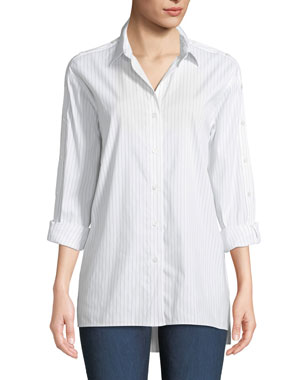 0d342296017cf Lafayette 148 New York Trinity Stanford Stripe Blouse with Buttoned Sleeves