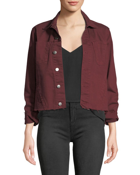 L'agence Jackets JANELLE SLIM CROPPED JEAN JACKET WITH RAW HEM