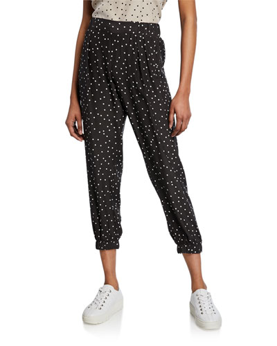 Polka-Dot Silk Cropped Pants