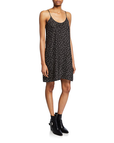 Polka-Dot Silk Cami Dress