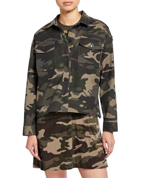 ATM Anthony Thomas Melillo Camo Button-Front Cropped Boxy Cotton Twill Jacket