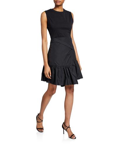 Asymmetrical Shirt Dress w/ Overlap Skirt
