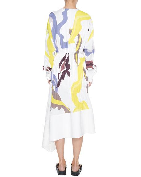 Tibi Ant Farm Printed Panel Crepe Dress