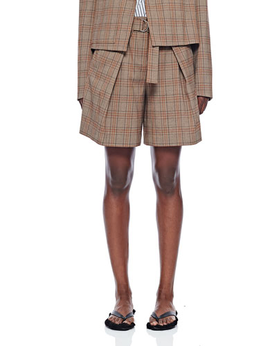 Check Pleated Relaxed Shorts