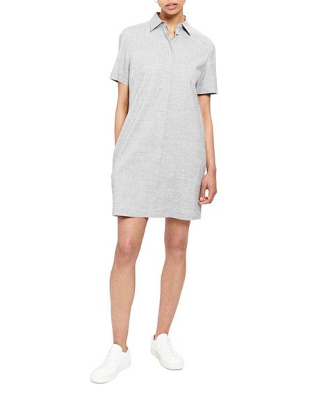Theory Button-Down Short-Sleeve Shirtdress In Bluet Melange