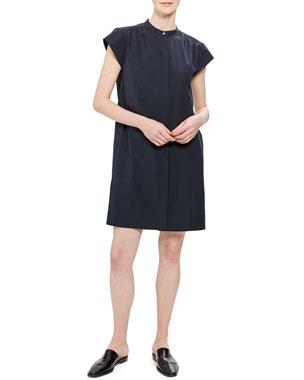 5f84d549c6c Theory Short-Sleeve Shirred Yoke Core Shirting Dress