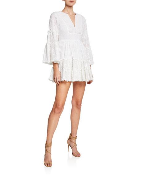 Alexis Dresses NORWA V-NECK TIERED EYELET & LACE MINI DRESS