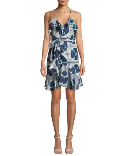 Kalani Silk Patterned Flounce Self-Tie Dress