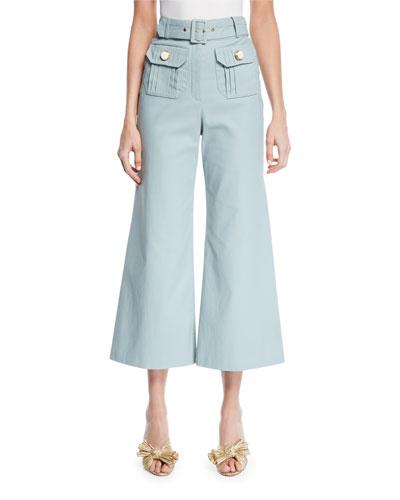 Everette Belted Wide-Leg Crop Pants