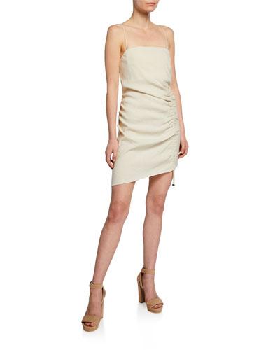Carsen Spaghetti-Strap Asymmetric Mini Dress