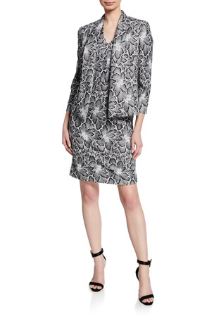 Albert Nipon Two-Piece Floral Lace Sleeveless Dress & Jacket Set