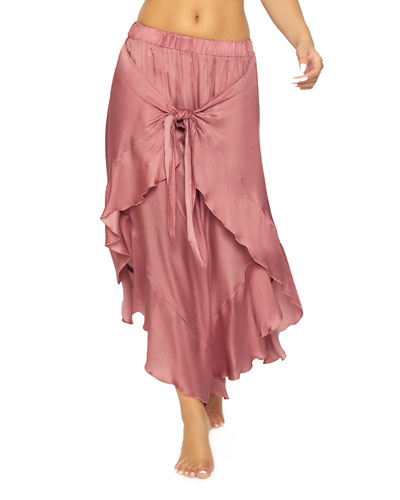 Ruffle Tie-Front Coverup Pants