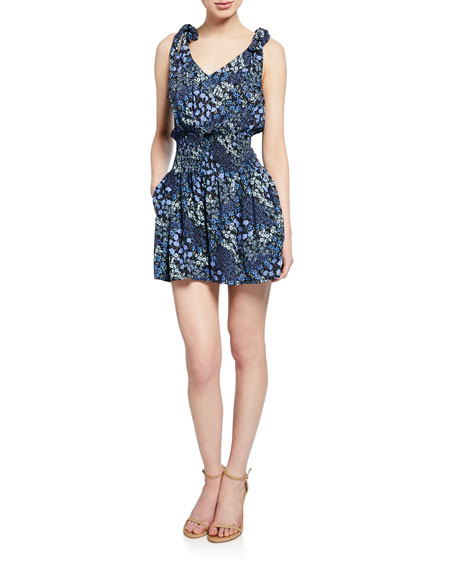 Rebecca Taylor Suits AVA SMOCKED FLORAL-PRINT SHORT JUMPSUIT