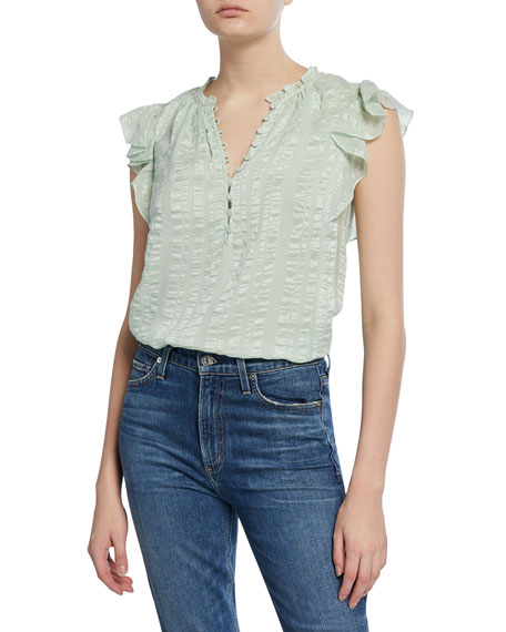 Rebecca Taylor Sleeveless Silk Striped Top