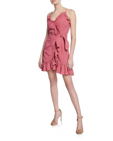 Rebecca Taylor Dresses SLEEVELESS LINEN RUFFLE WRAP DRESS